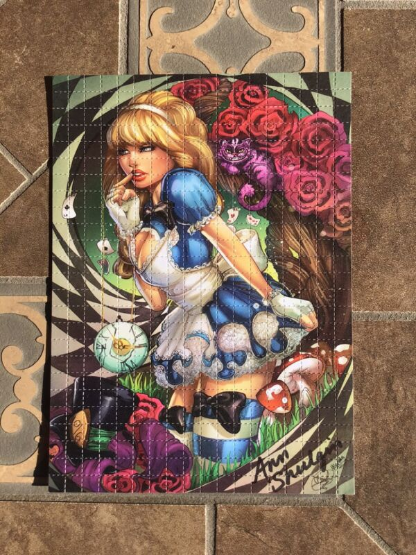 BLOTTER ART BAD ALICE Signed BY ANN SHULGIN Perforated Sheet