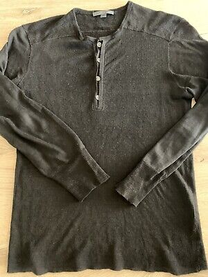 John Varvatos Collection Linen Long-sleeve Henley Sz: M Clr: Blk