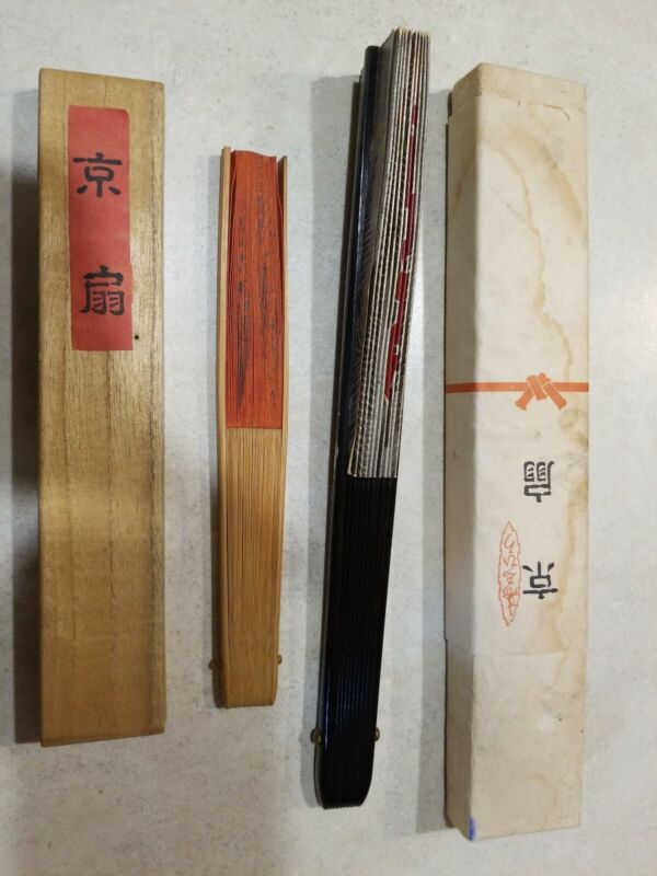Vintage Asian JAPANESE HAND PAINTED FANs Lot of 2 with Box