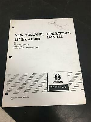 New Holland Operators Manual 48 Snow Blade For Models 715648006-t0s0001 Up