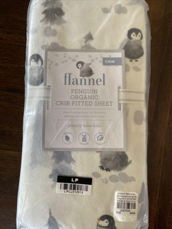 Pottery Barn Kids Flannel Penguin Bird Organic Crib Toddler Fitted Sheet New