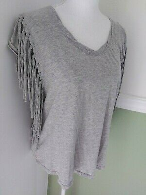 Free People Womens Cotton  Fringe  Gray Shirt  Top Blouse XS