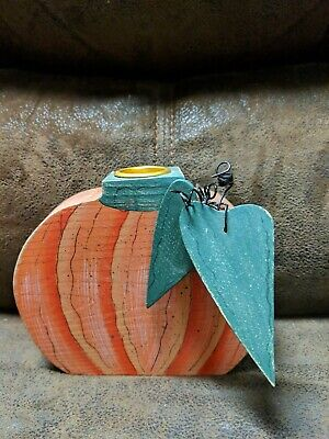 Pumpkin Taper Candle Holder Wood Handmade Fall Harvest Halloween Thanksgiving