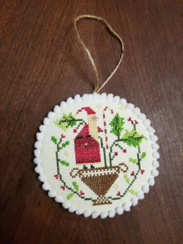 finish complete cross stitch ornament christmas santa holly berry candy cane