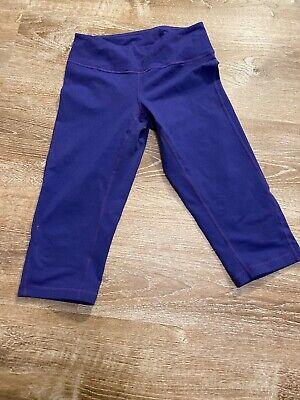 Zella Cropped Capri Stretch Athletic Yoga Leggings XS Purple Plain