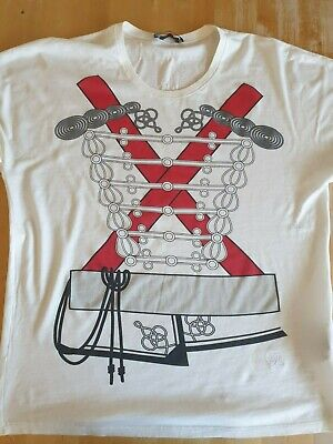 MCQ ALEXANDER MCQUEEN White Cotton Red & Black Printed T-Shirt  M worn once