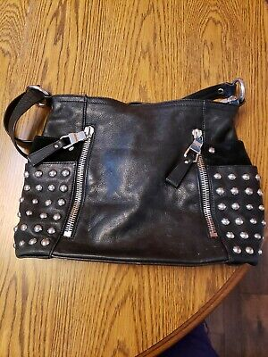 B.MAKOWSKY Black Leather Large Handbag/Hobo