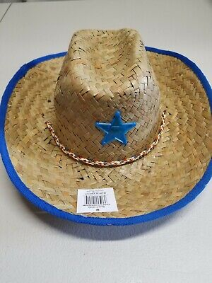 Straw Cowboy Sheriff Hat With Blue Star and Rim](Boys Cowboy Hat)