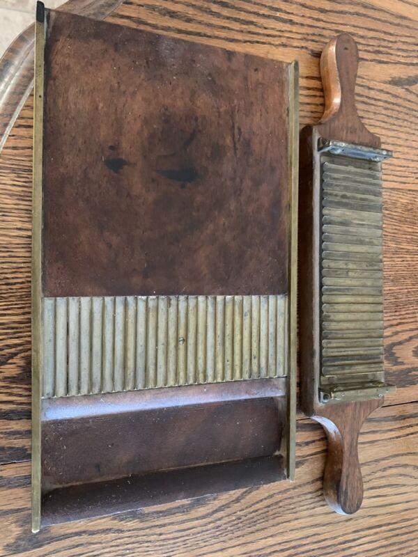 antique wood brass pill cutter
