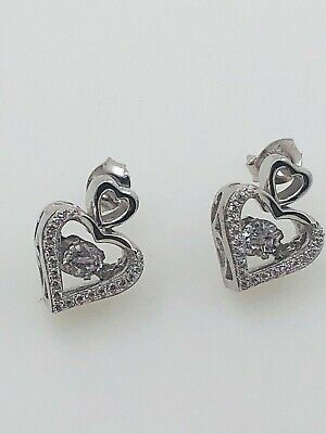 Sterling Silver Double Heart Earrings with Dancing Diamond Design (Diamond Double Heart Earrings)
