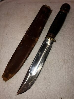"Vintage MSA Marbles Ideal Knife Wood Pommel Original Sheath 10 1/2"""