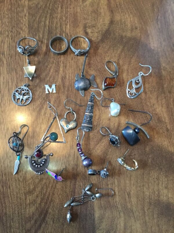 Sterling Silver Lot Of 22 Pc Of Jewelry 39.1 Grams