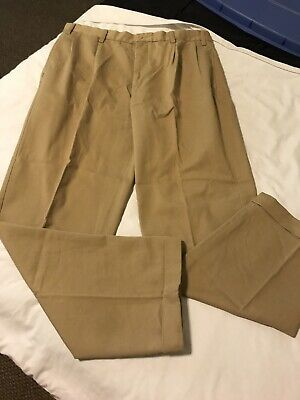 Mens Nautica Rigger 38x34 Pleat Front Cotton Casual Work Pants Beige Khaki