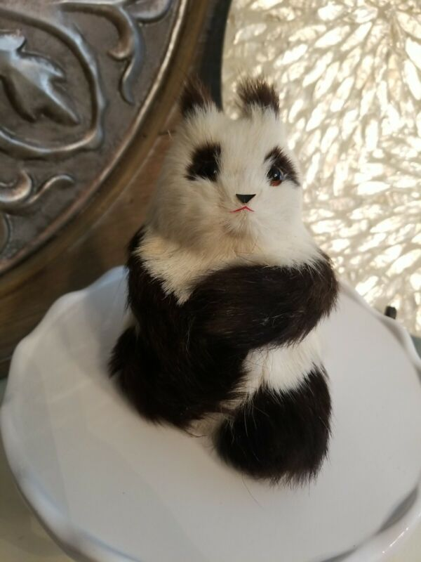 Vintage Real Fur Panda Bear Hand Crafted