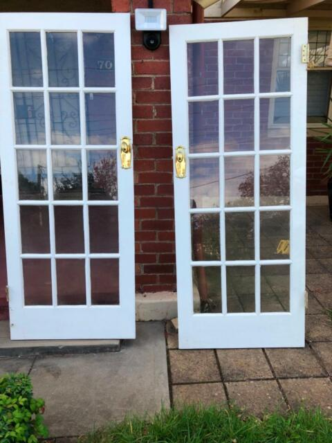 French Doors 15 Glass Panels Matching Pair