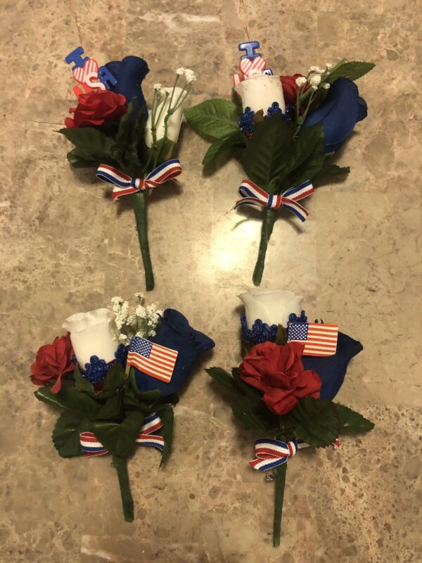 SET OF 4 - 4TH OF JULY RED, WHITE, BLUE FLOWER, FLAG, I LOVE USA CORSAGE