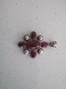 Pink Tourmaline and Freshwater Pearl Silver Pendant Pimpama Gold Coast North Preview