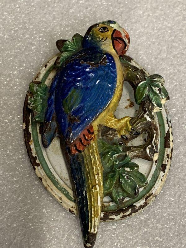 VINTAGE ANTIQUE HUBLEY CAST IRON DOOR KNOCKER PARROT BIRD ORIGINAL PAINT #4