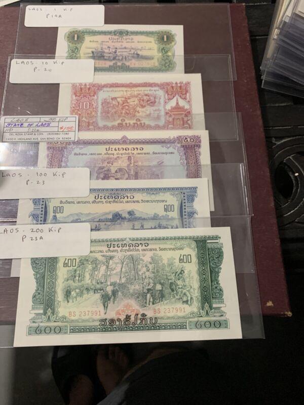LAOS 200 100 50  20 1 KIP ND 1975 P 23A  23 22A 20 19A UNC