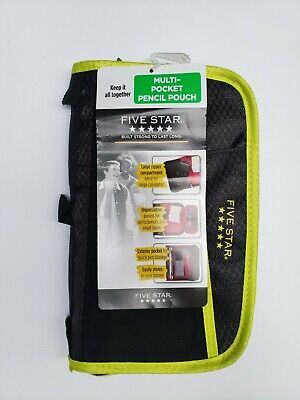 New Mead Five Star Multi-Pocket Pencil Pouch Black Yellow Binder accessory