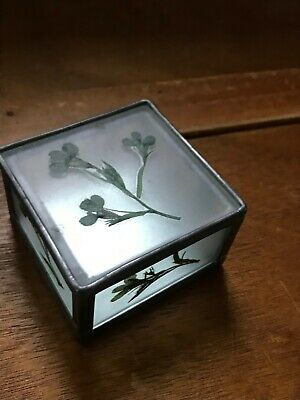 Estate Small Frosted Glass with Dried Flowers Square Trinket Box w Mirror Bottom
