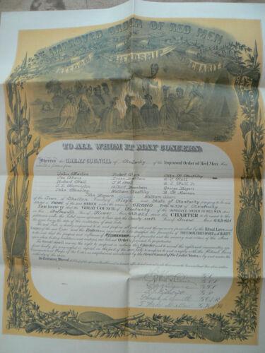 Improved Order of Red Men Membership Certificate