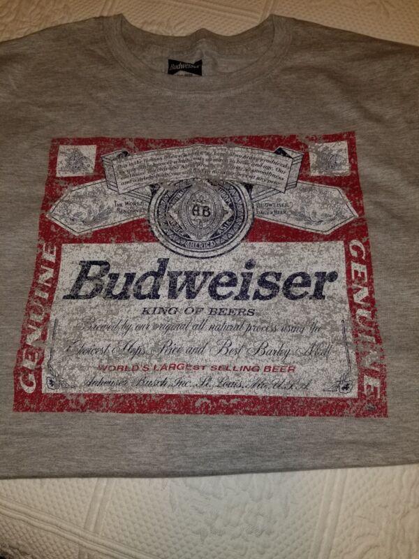 Gray Budweiser T Shirt Large