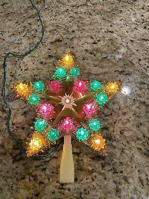 Vintage 1970's Modern Imports 21 Blinking Light Up Star Christmas Tree Topper