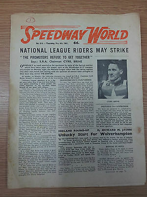 SPEEDWAY WORLD - National League Riders, May Strike 4th May 1961 No.810
