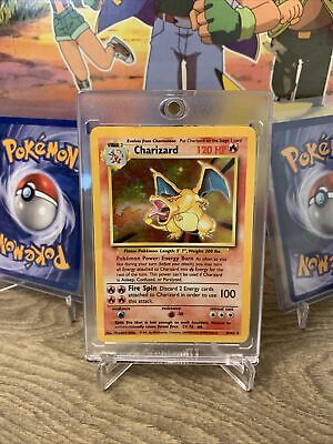 Charizard 4/102 Base Set Unlimited Holo Pokemon Card Played Condition -