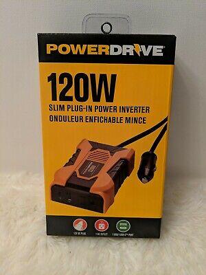 PowerDrive 120 Watt Slim Plug-In Inverter with 1 AC and 2 USB Ports PD120 Ac 120 Watt Usb Inverter