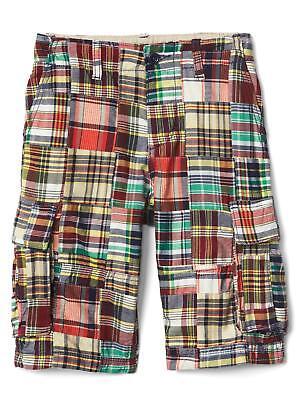 GAP Kids Boys Madras Patchwork Plaid Cargo Shorts 5 6 Regular NWT $35
