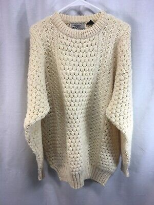 VTG Donegal II Fisherman Sweater Mens Large Ivory 100% Pure New Wool Ireland