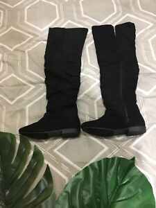 Black Suede Over the Knee Fall Boots