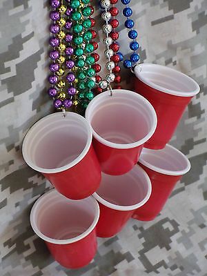 LOT of FOUR >Red Solo Cup Necklaces>Shot Glass>Toby Keith>Mardi Gras>Party Beads Shot Glass Beads