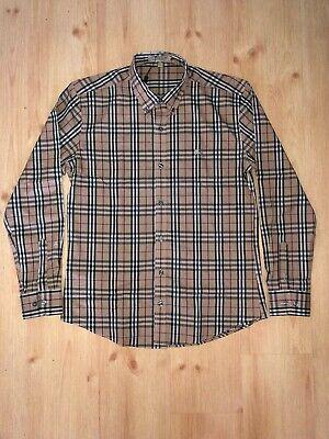 Mens Burberry London Beige Nova Check Long Sleeve Shirt Size Large