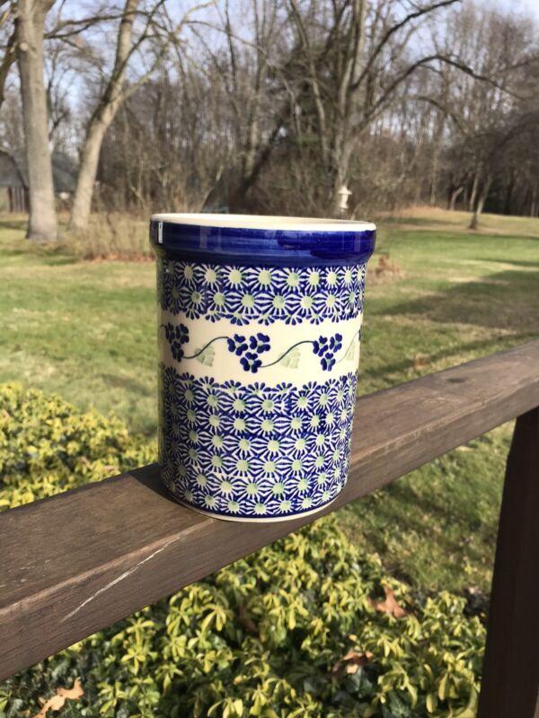 BOLESLAWIEC Polish Pottery Poland Blue Utensil Crock Excellent Canister