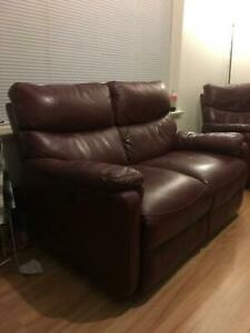 Leather Lounge 1x 2 seater recliner 1x Single seat recliner