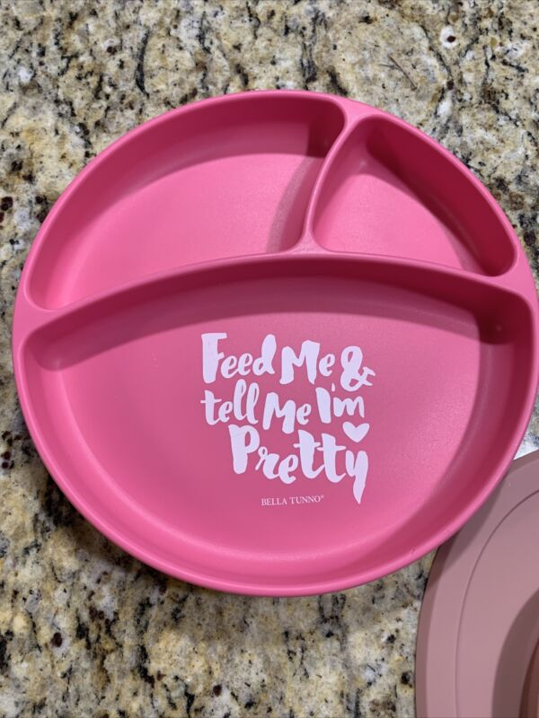 bella tunno pink silicone feed me toddler divided plate