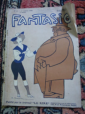 Fantasio No. 47 1 Juillet 1908 Old French Lampoon Paper 1908