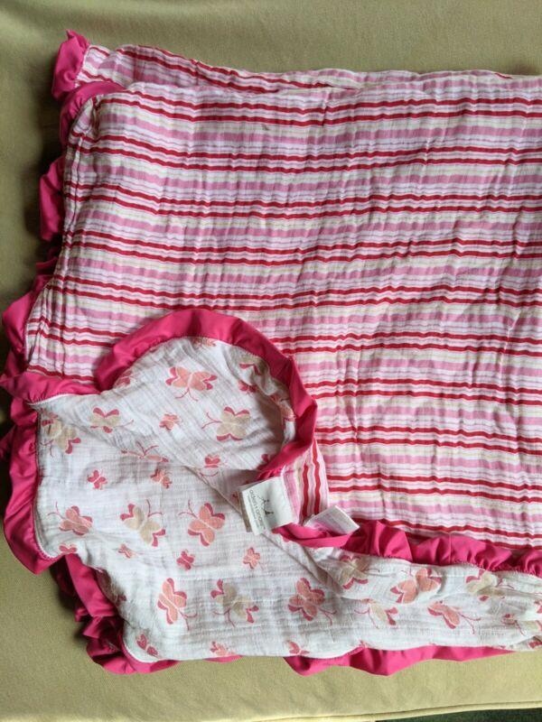 Aden + Anais Pink Stripped Satin Trim Lovey Blanket Dream Blanket?