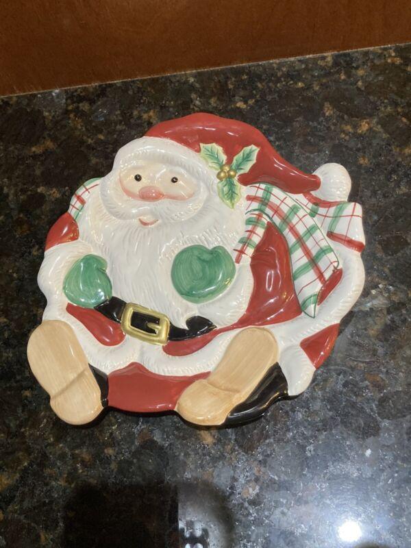 Vtg. Fitz And Floyd Essentials Santa Plaid Christmas Holly Cookie Desert Plate