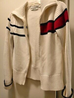 Tommy Hilfiger Ladies Sweater. Zip Up.Size Med.Off White With Red/Navy Trim.