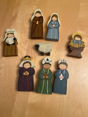 Unique 8 Piece Christmas Double Sided Hand Painted Wooden Nativity Set Beautiful