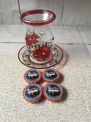 Yankee Candle Poinsettia Glass Wax Melts Warmer & Plate Tarts Wax Christmas Eve