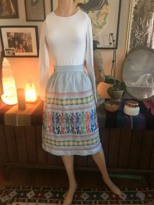 Vintage Guatemalan HAND EMBROIDERED & Crocheted Wrap Skirt Colorful Boho Ethnic
