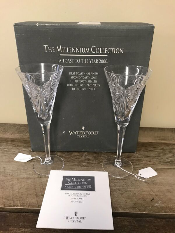 Waterford Crystal MILLENNIUM Champagne HAPPINESS First Toasting Flutes Pair/2
