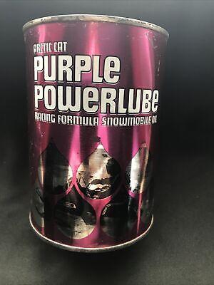 Vintage Arctic Cat Purple Powerlube NOS Metal Quart Snowmobile Oil Full