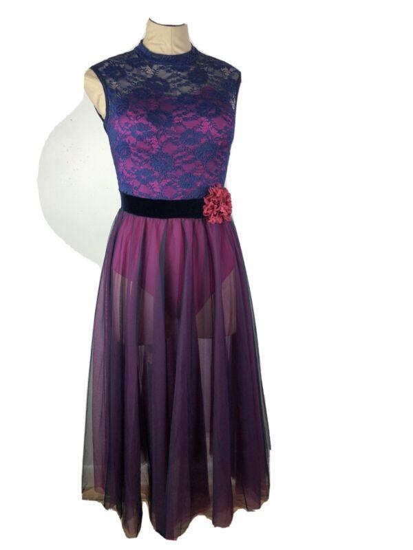 Curtain Call Costume Adult ASM Purple Fushia Lace Dance Ballet