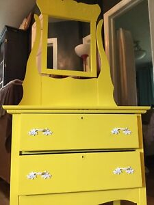 Yellow antique dresser with mirror- available